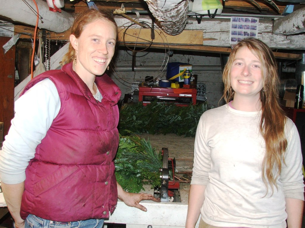 Two Vermont Wreathmakers, Sarah and Cheryl.